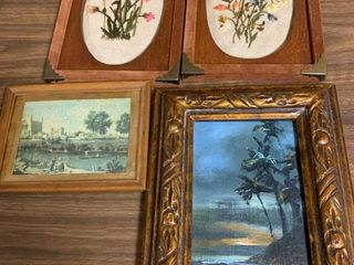 Assorted framed needlepoint and art