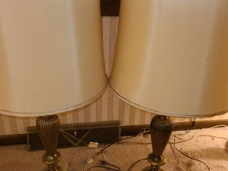 2 BRASS AND ONYX TABlE lAMPS  with RETRO lAMP SHADES