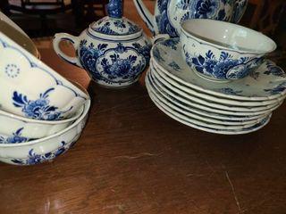 Delfa Blauw Hand Painted 21pcs  Tea Set