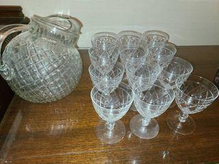 13 pcs Ice Tea Set  12 4 oz  glasses and a Pitcher