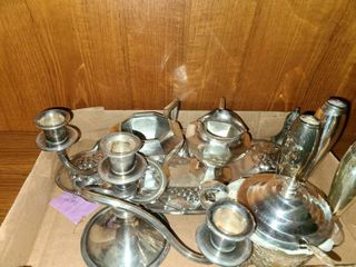 Silverplated Creamer and Sugar Dish with Candle Holders and other items
