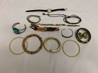 ladies jewelry  nine bracelets  one bracelet with matching pin  one watch and two bands