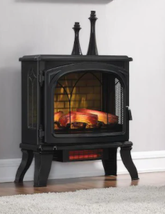 Duraflame 25 in W 5200 BTU Black Metal Flat Wall Infrared Quartz Electric Stove Thermostat