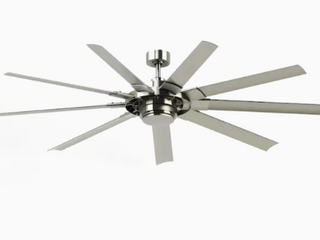 Fanimation Studio Collection Slinger v2 72 in Brushed Nickel lED Indoor Outdoor Downrod Mount Ceiling Fan with light Kit and Remote  9 Blade  ENERGY STAR