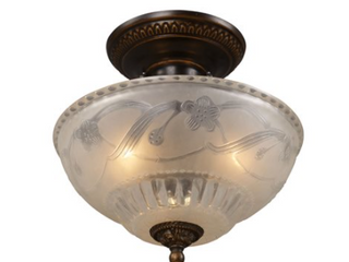 Restoration 3 light Semi Flush in Golden Bronze with Off white Glass