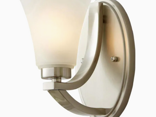 Allen Roth Wall Sconce Satin Nickel Finish Etched Glass Shade