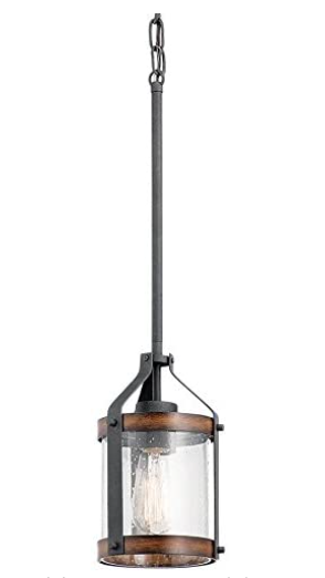 Kichler Barrington 5 5 in Distressed Black and Wood Rustic Mini Seeded Glass Cylinder Pendant