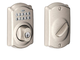 Schlage Keypad Deadbolt Style  Camelot Finish   Satin Nickel