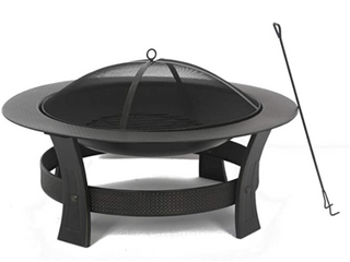 Garden Treasures 35 in W Black High Temperature Painted Steel Wood Burning Fire Pit