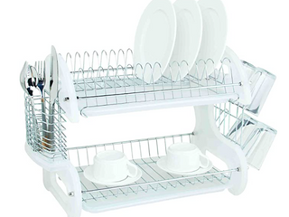 Home Basics Dish Drainer  2 Tier Plastic White
