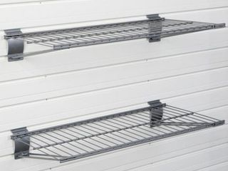 Flow Wall 24 in  x 12 in  Metal Bracket Shelf   Silver  2 Pack