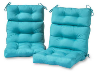 Set of 2 Outdoor High Back Chair Cushion   Teal  Blue    Greendale Home Fashions