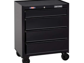 CRAFTSMAN Standard Duty 26 5 in W x 32 5 in H 4 Drawer Ball bearing Steel Tool Cabinet  Black  Damaged  Dent in Side