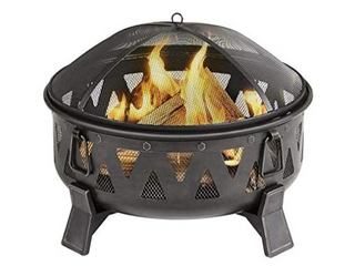 Garden Treasures 29 92 in W Antique Black Steel Wood Burning Fire Pit