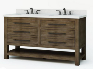 allen   roth Kennilton Gray Oak Double Sink Vanity with Carrera White Engineered Stone Top  Common  60 in x 22 in