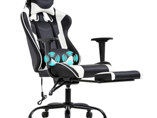 Missing Minor Hardware  PC Gaming Chair Racing Office Chair Ergonomic Desk Chair Massage PU leather Recliner Computer Chair with lumbar Support Headrest Armrest Footrest Rolling Swivel Task Chair for Women Adults  White