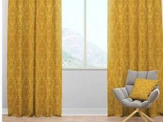 Designart  luxury Golden Floral  Glam Curtain Panel  Retail 139 99