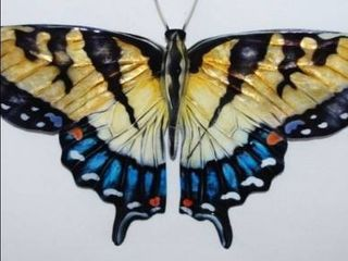 Handmade Gold And Blue Butterfly Wall Decor