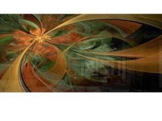 Symmetrical Orange Digital Fractal Flower   Modern Floral Glossy Metal Wall Art