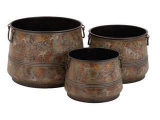 Set of 3 Rustic 8  9  and 11 Inch Round Metal Planters by Studio 350  Retail 96 99