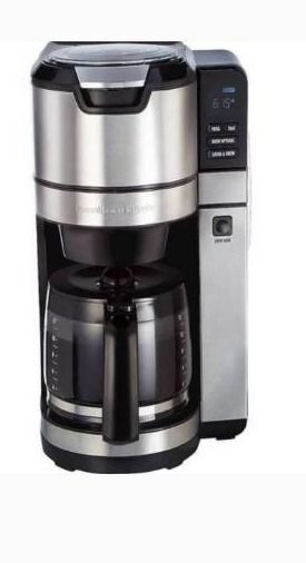 Hamilton Beach   12 Cup Coffee Maker with Integrated Coffee Grinder   Black Stainless  Retail 99 98
