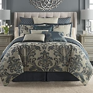 Waterford Everett Teal Reversible King 4 Piece Comforter Set Bedding
