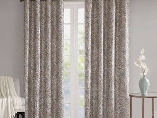 95 x50  Elsie Paisley Printed Blackout Window Panel Taupe