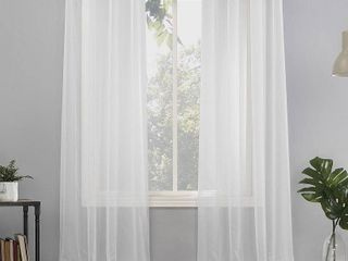 84 x59  Emily Sheer Voile Grommet Top Curtain Panel White   No  918