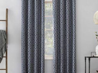 63 x52  Burke Twill Mosaic Extreme Total Blackout Grommet Top Curtain Panel Navy Denim Blue   Sun Zero