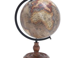 Wooden globe with distinctive pattern in rustic dAccor color