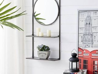 FirsTime   Co  Iron Pharmacy Mirror with Shelves  American Crafted  Dark Gray  Mirror  16 x 6 x 31 5 in   16 x 6 x 31 5 in  Retail 78 98