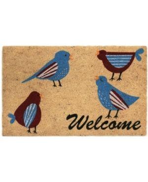 Welcome Birds Coir Door Mat   18W x 30l