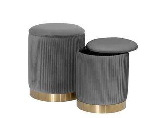 Best Quality Furniture Velvet Tufted Vertical Storage Ottoman Set of 2  Retail 155 49