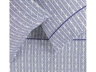 Printed Cotton 400 Thread Count Blue Arrow Embroidered Sheet Set  Retail 99 49
