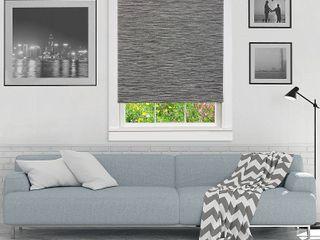 72 x37  Cordless Free Privacy light Filtering Jute Window Roller Shade Gray   Achim