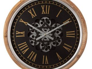 Glitzhome 20 47 in  D Vintage Industral Metal Wall Clock with Moving Gears  Multi