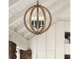 Modern Rustic Wooden 4 light Mini Circle Orb Pendant  Retail 173 49