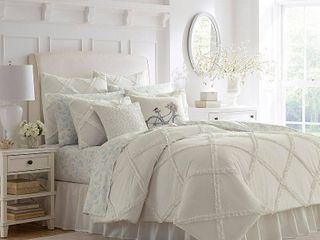 Full Queen White Adelina Comforter Set   Stone Cottage