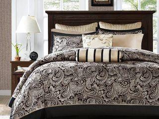 12pc Queen Charlotte Jacquard Comforter Set Black Silver