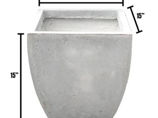 Durx litecrete lightweight Concrete Flared Square light Grey Planter Medium   15 x15 x15  Retail 95 49