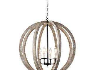 The Gray Barn Vineyard Distressed gray and Bronze 4 light Globe Chandelier  Retail 241 99