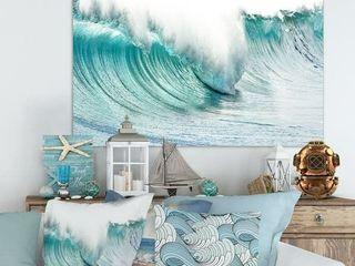 Massive Blue Waves Breaking Beach   Contemporary Seascape Art Canvas  Retail 114 49