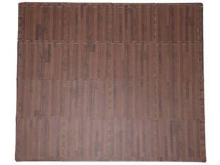 Ottomanson Soft EVA Foam Mat Wood Print Flooring Tiles  16PC  12 x12