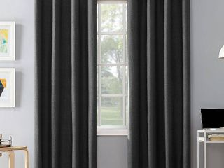 95 x50  Duran Total Blackout Thermal Insulated Grommet Top Curtain Panel Charcoal   Sun Zero