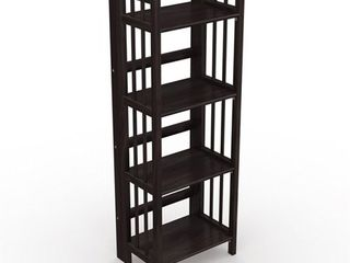No Assembly Folding Four Shelf Bookcase  16 Inches Wide  Retail 129 49