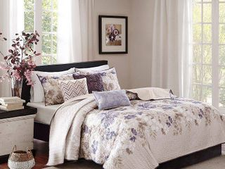 Madison Park Piper Taupe 6 piece Quilted Coverlet Set  Retail 104 49