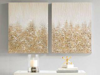 Madison Park Golden Glimmer Hand Brush Embellished Canvas  Set of 2