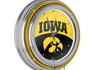 University of Iowa Chrome Double Rung Neon Clock   logo   University of Iowa  Retail 102 99