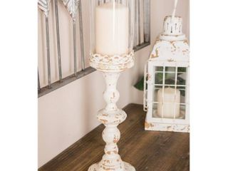 The Gray Barn Joyful Stream Set of 2 Rustic 18 and 21 Inch White Metal Candle Holder  Retail 78 48