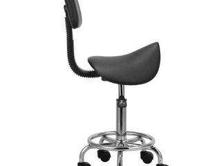 Height Adjustable Rolling Swivel Salon Stool with Back Saddle Shape
